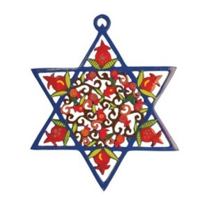 Yair Emanuel Blue Star of David Wall Hanging filled with Red Pomegranates