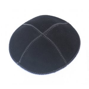 Black Suede Kippah Four Panel Yarmulke