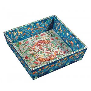 Yair Emanuel Hand Painted Wood Matzah Tray - Peacocks & Forest Scenes