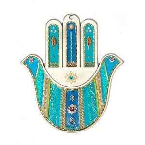 Pewter Wall Hamsa by Ester Shahaf - Turquoise Doves