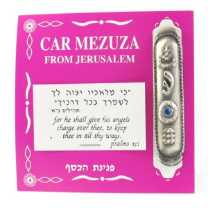 "Silver Plated Car Mezuzah with ""Shin"" and Blue Stone"