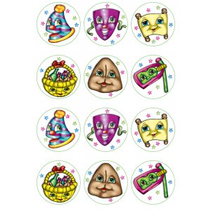 Colorful Purim Stickers