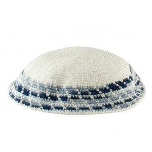 White Knitted DMC Kippah - Diagonal shades of blue