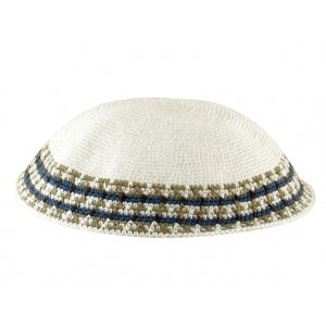 White Knitted DMC Kippah with shades of green