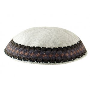 White Knitted DMC Kippah with Gray and Tan Rim