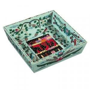 Yair Emanuel Hand Painted Wood Blue Matzah Tray - Flowers and Birds