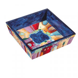 Yair Emanuel Hand Painted Wood Matzah Tray – Jerusalem Night Views