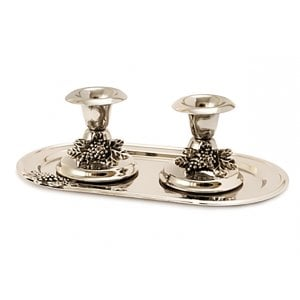 Small Silver Plated Candlesticks with Tray