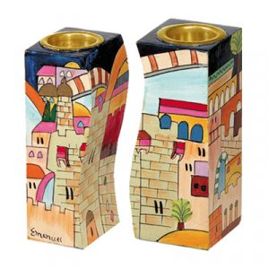 Yair Emanuel Hand-Painted Wood Fitted Candlesticks - Jerusalem Views