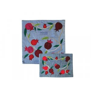 Yair Emanuel Silk Applique Matzah Cover & Afikoman Bag - Pomegranates on Blue