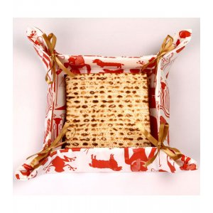 Barbara Shaw Matzah Basket with Satin Bows - Pesach Images