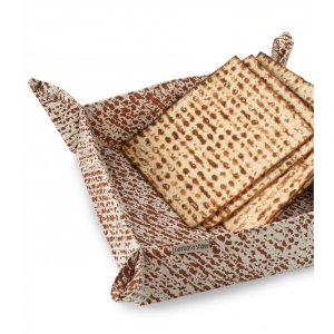 Barbara Shaw Matzah Basket - Brown Matzah Print