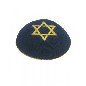 Blue Knitted Kippah with Gold Star of David