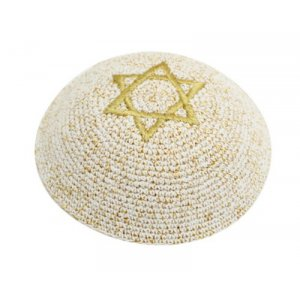 Gold Knitted Kippah with Star of David