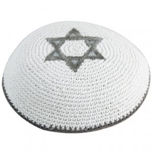 White Knitted Kippah with Silver Star of David