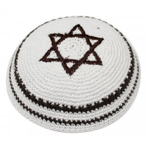 White Knitted Kippah with Brown Star of David