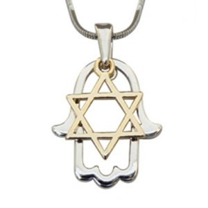 Rhodium Two Tone Pendant Necklace - Silver Hamsa and Gold Star of David