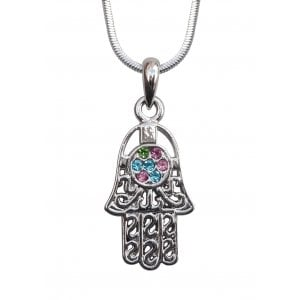 Rhodium Pendant Necklace - Hamsa with Colored Stones