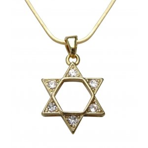 Rhodium Pendant Necklace, Gold Star of David with White Stones
