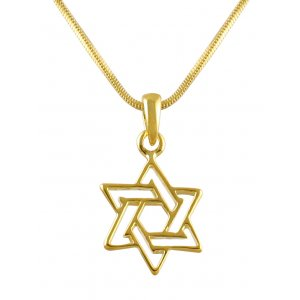 aJudaica Gold Plated Double Star of David Necklace