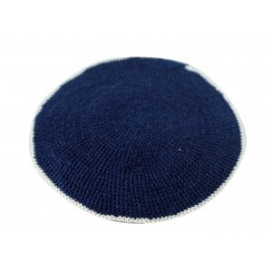 Flat DMC Knitted Kippah in Blue with White Border