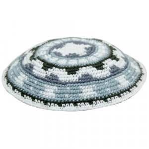 Blue-Green DMC Knitted Kippah