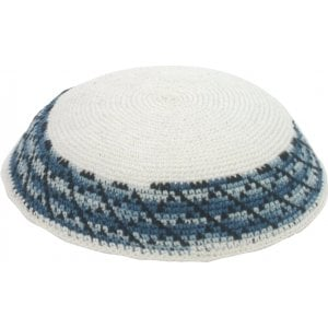White DMC Knitted Kippah with border in shades of blue