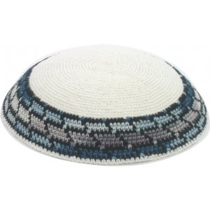 White DMC Knitted Kippah with Gray-Blue Border