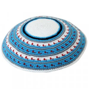 Striking Turquoise-Red DMC Knitted Kippah