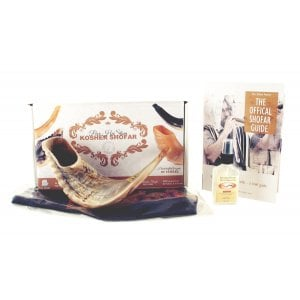 Natural Ram's Horn Shofar with Bag and Cleaning Spray Gift Set