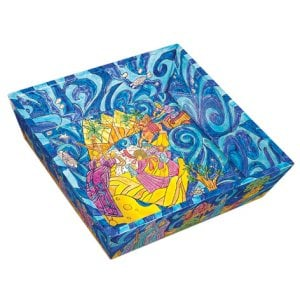Yair Emanuel Hand Painted Wood Blue Matzah Tray - Exodus from Egypt