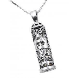 Mezuzah Necklace Pendant Sterling Silver with Cut Out Star of David