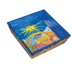 Yair Emanuel Hand Painted Wood Blue Matzah Tray - Golden Jerusalem