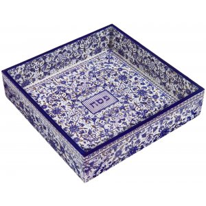 Yair Emanuel Hand Painted Wood Matzah Tray, Floral - Blue