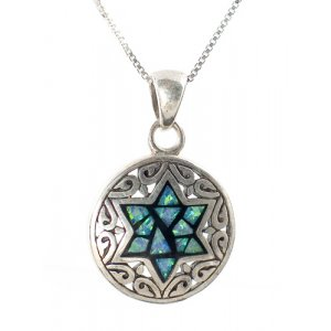 Sterling Silver and Opal Star of David Pendant