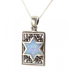 Silver and Opal Rectangle Star of David Pendant