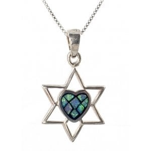 Silver and Opal Star of David with Heart Pendant