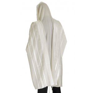 Talitnia Prima A.A Tallit Premium Pure Wool Prayer Shawl - White Stripes
