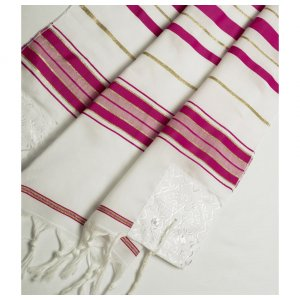 Talitnia Acrylic Tallit Imitation Wool Prayer Shawl - Dark Pink & Gold Stripes