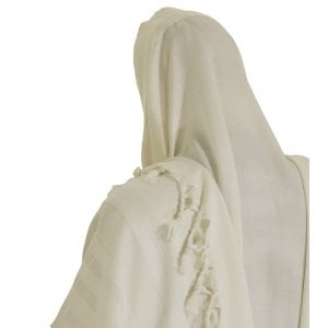 Talitnia Malchut Wool Non Slip Tallit Prayer Shawl - White Stripes