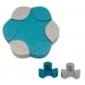Avner Agayof Anodized Aluminum Travel Candle Holders, Leaf Collection - Teal