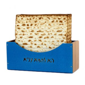 Shraga Landesman Upright Matzah Holder Aluminum and Beechwood - Blue
