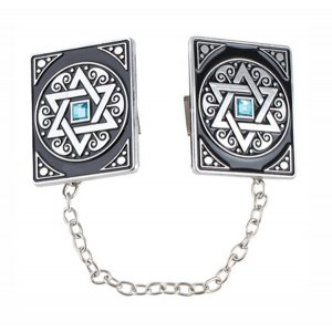 Tallit Prayer Shawl Clips, Nickel Plate - Star of David with Blue Stone