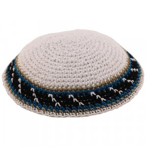 Blue Knitted Kippah with Black, Teal and White Border Design
