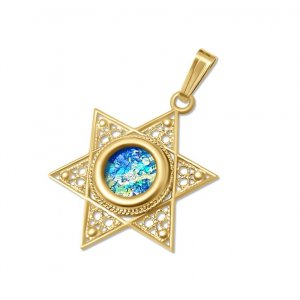 14K Gold Star of David Pendant with Filigree Design and Roman Glass Center