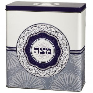 Decorative Matzah Tin with Lid – Blue Floral Circular Decoration