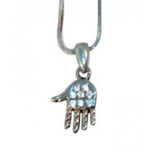 Rhodium Pendant Necklace, Open Palm Hamsa with White Stones