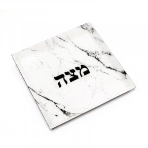 Stainless Steel Matzah Tray for Pesach - White-Gray Marble Design