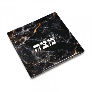 Stainless Steel Matzah Tray for Pesach Passover - Black Gold Marble Design