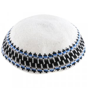 White DMC Knitted Kippah with Black and Blue Border Design